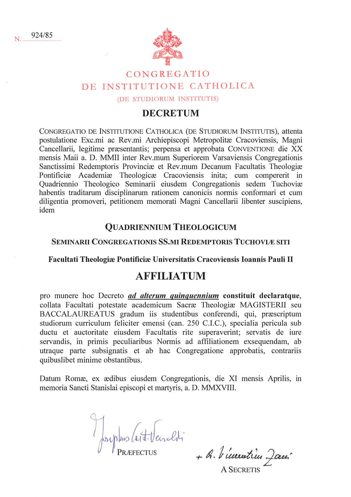 Dekret afiliacyjny WSD